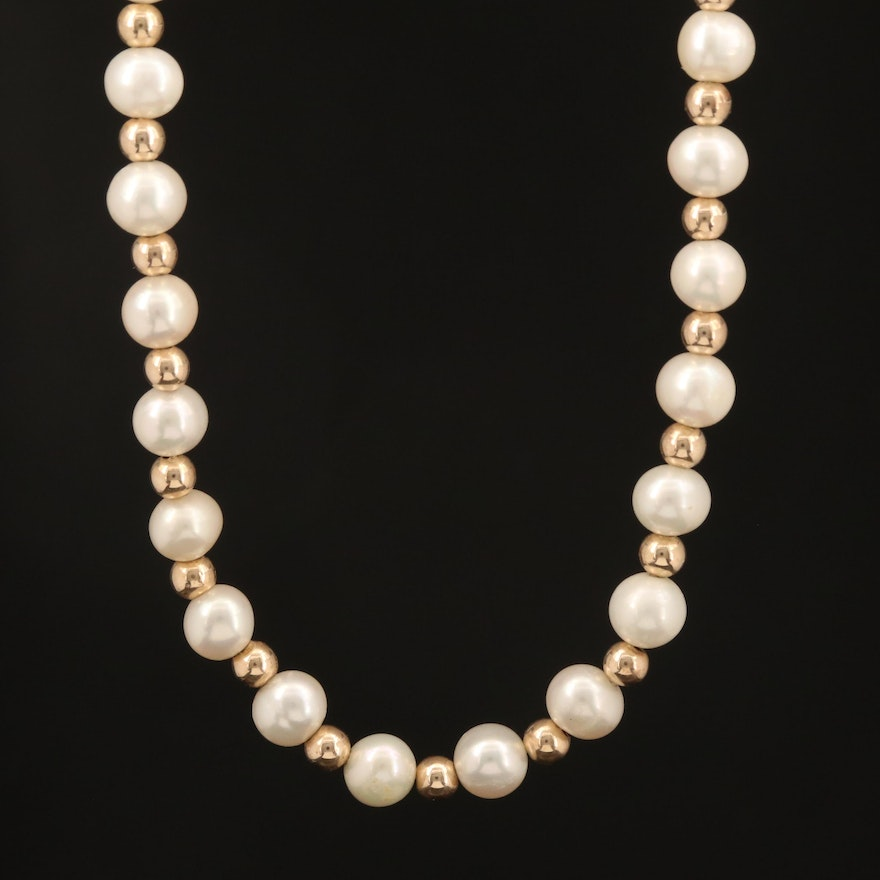 14K Bead and Pearl Necklace