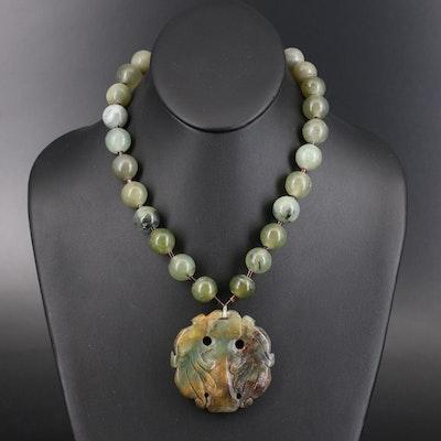 Carved Serpentine Floral Pendant Necklace