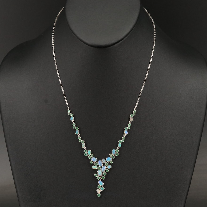 Sterling, Opal and Emerald Stationary Pendant necklace
