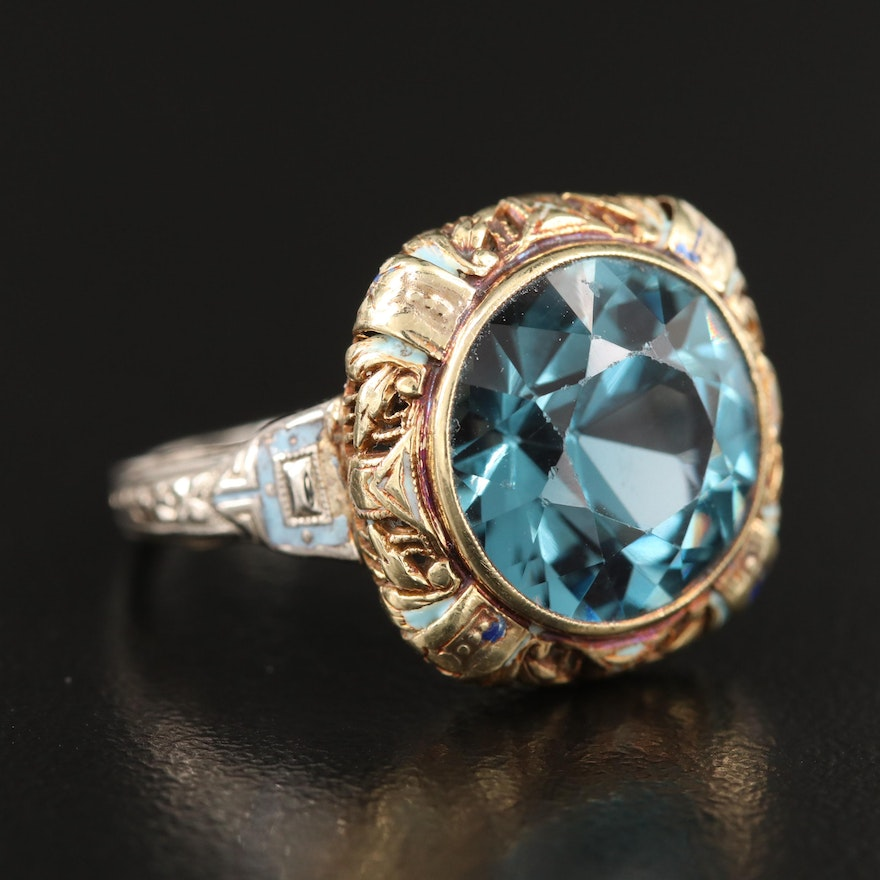 1930s 14K Two-Tone Gold Spinel and Enamel Ring