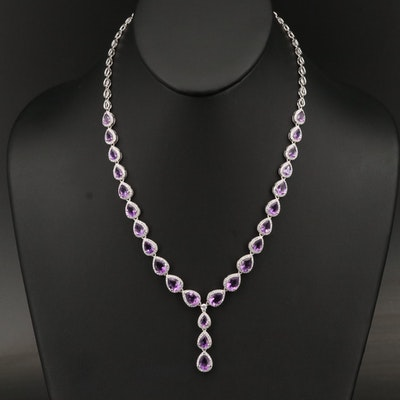 Graduated Sterling Silver Amethyst and Cubic Zirconia Drop Necklace