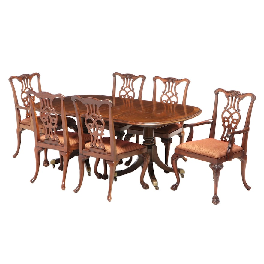 Seven-Piece Federal Style Mahogany Dining Set, Late 20th Century