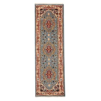 2'7 x 8'3 Hand-Knotted Indo-Persian Heriz Serapi Carpet Runner, 2010s