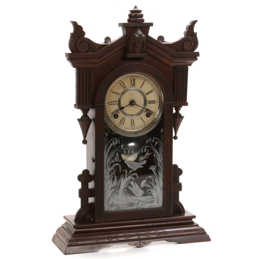 Wm. L Gilbert Clock Co. Eastlake Mantel Clock with Jenny Lind Head