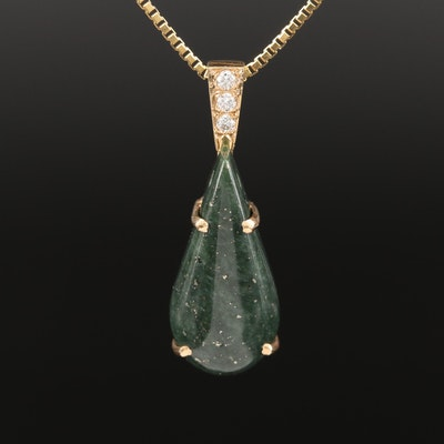 14K Nephrite and Diamond Pendant on UnoAErre 14K Box Link Chain