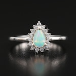 Sterling Opal and Cubic Zirconia Ring