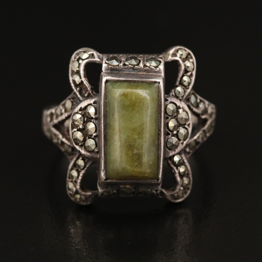 Sterling Serpentine and Marcasite Openwork Ring
