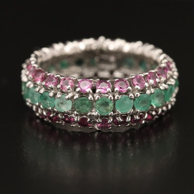 Sterling Emerald and Garnet Eternity Band
