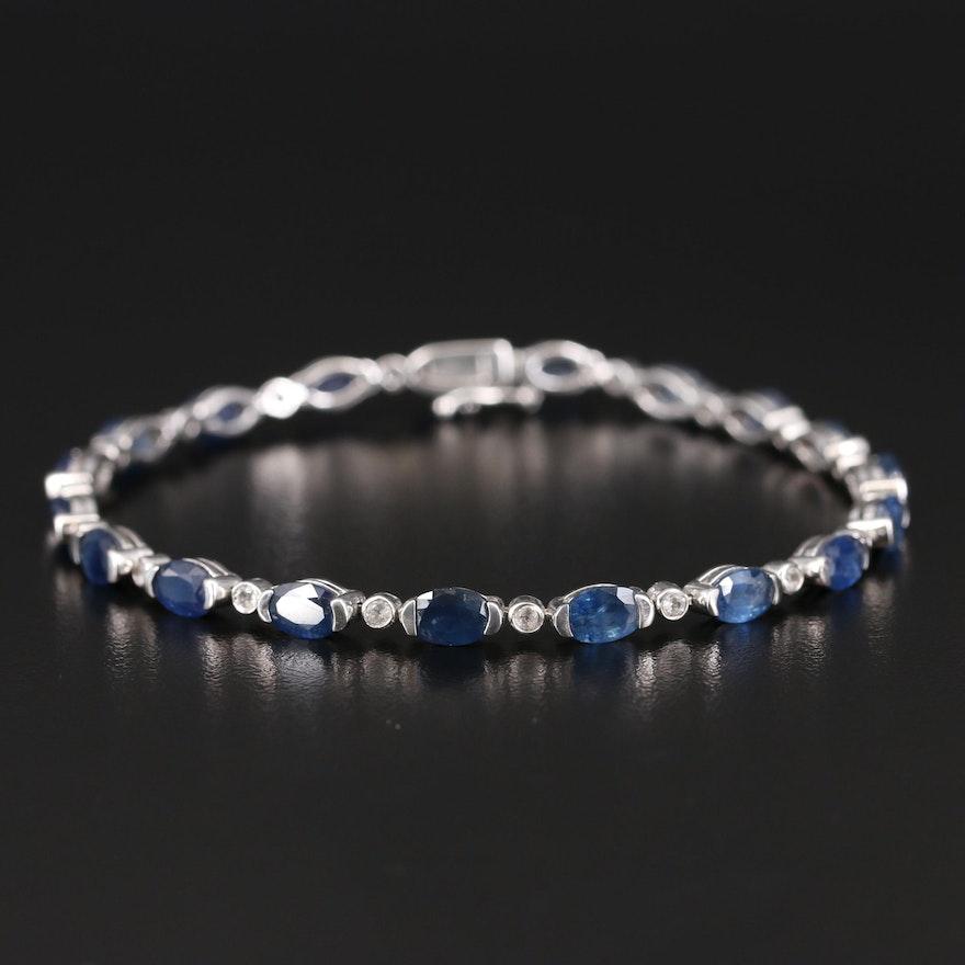 Sterling Sapphire and Topaz Line Bracelet