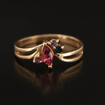 14K Tourmaline, Sapphire and Amethyst Ring