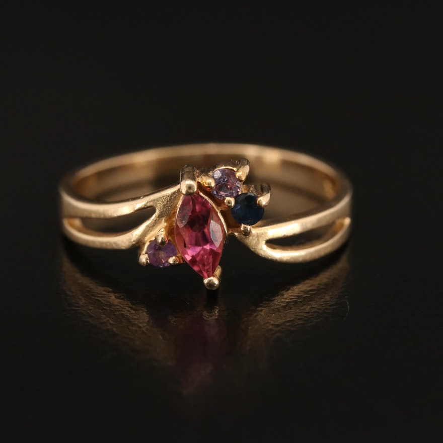14K Tourmaline, Sapphire and Amethyst Ring