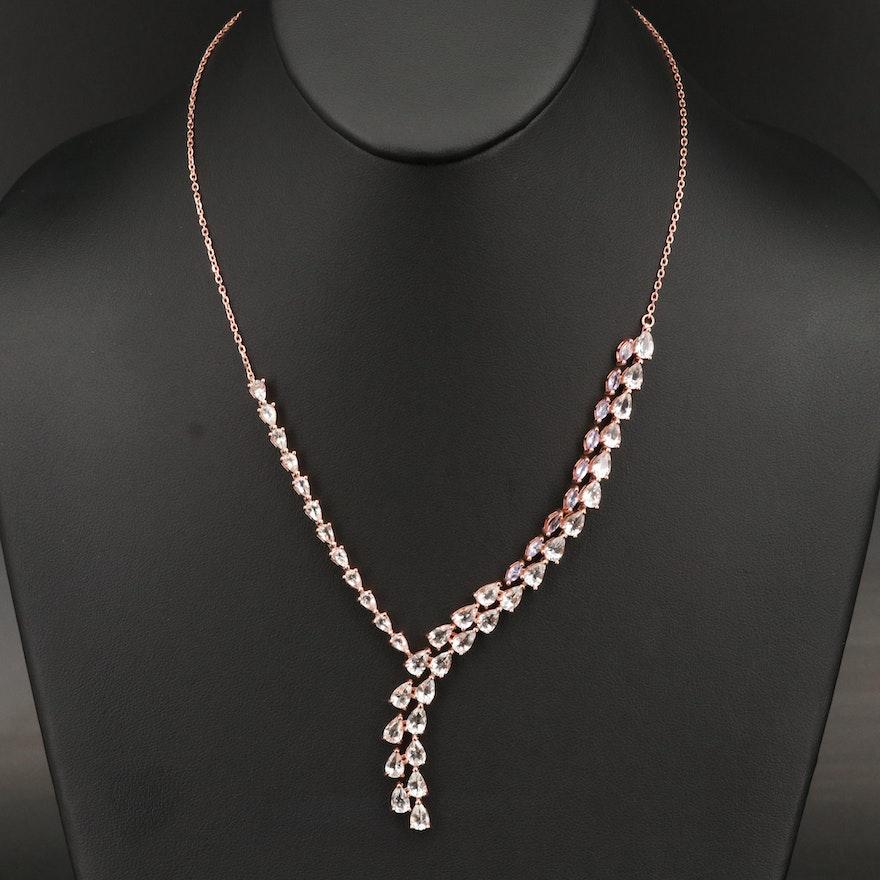 Sterling Goshenite and Tanzanite Necklace