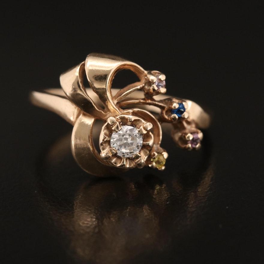 14K Gadolinium Gallium Garnet and Sapphire Ring