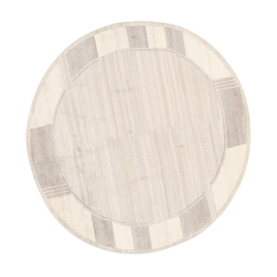 6' Round Hand-Knotted Indian Modern Rug, 2010s