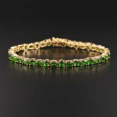 Sterling Alternating Diopside Line Bracelet