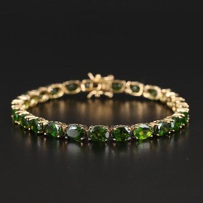 Sterling Diopside Line Bracelet