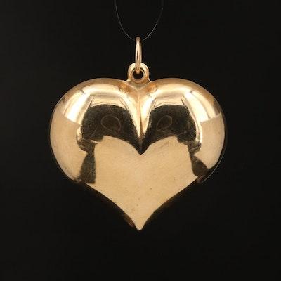 14K Puffed Heart Pendant