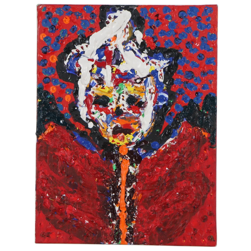 "Irwin Wiener Impasto Acrylic Painting ""High Plains Grifter"""