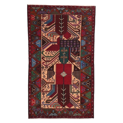 3'10 x 6'5 Hand-Knotted Persian Baluch Rug, 2000s