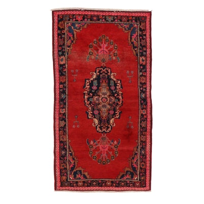 4'11 x 9'4 Hand-Knotted Persian Zanjan Rug, 1960s