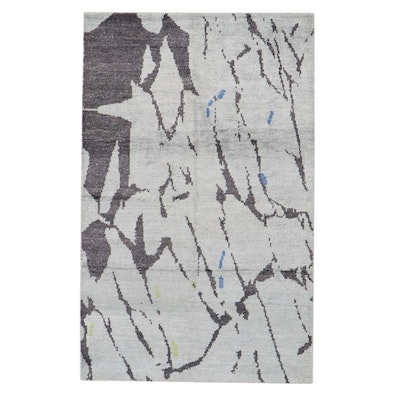 5'1 x 8'1 Hand-Knotted Indian Modern Abstract Rug, 2010s