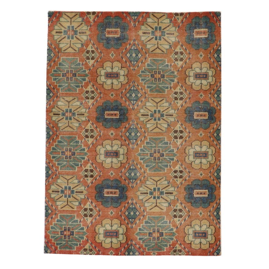 5' x 6'11 Hand-Knotted Indian East Turkestan Style Rug, 2010s