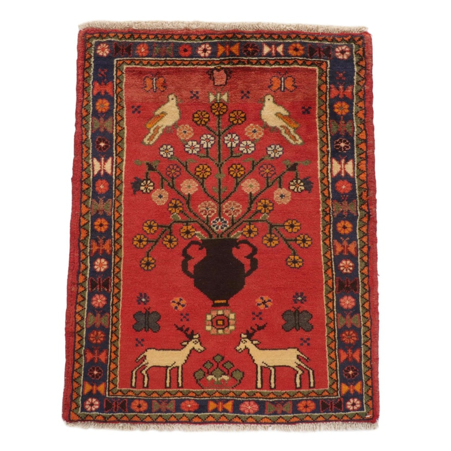 2'5 x 3'3 Hand-Knotted Persian Malayer Pictorial Rug, 1970s