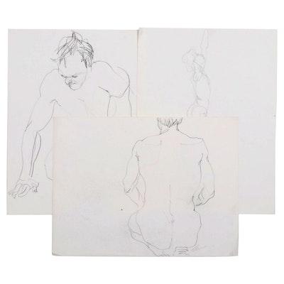 John Tuska Figural Graphite Drawings, Mid to Late 20th Century