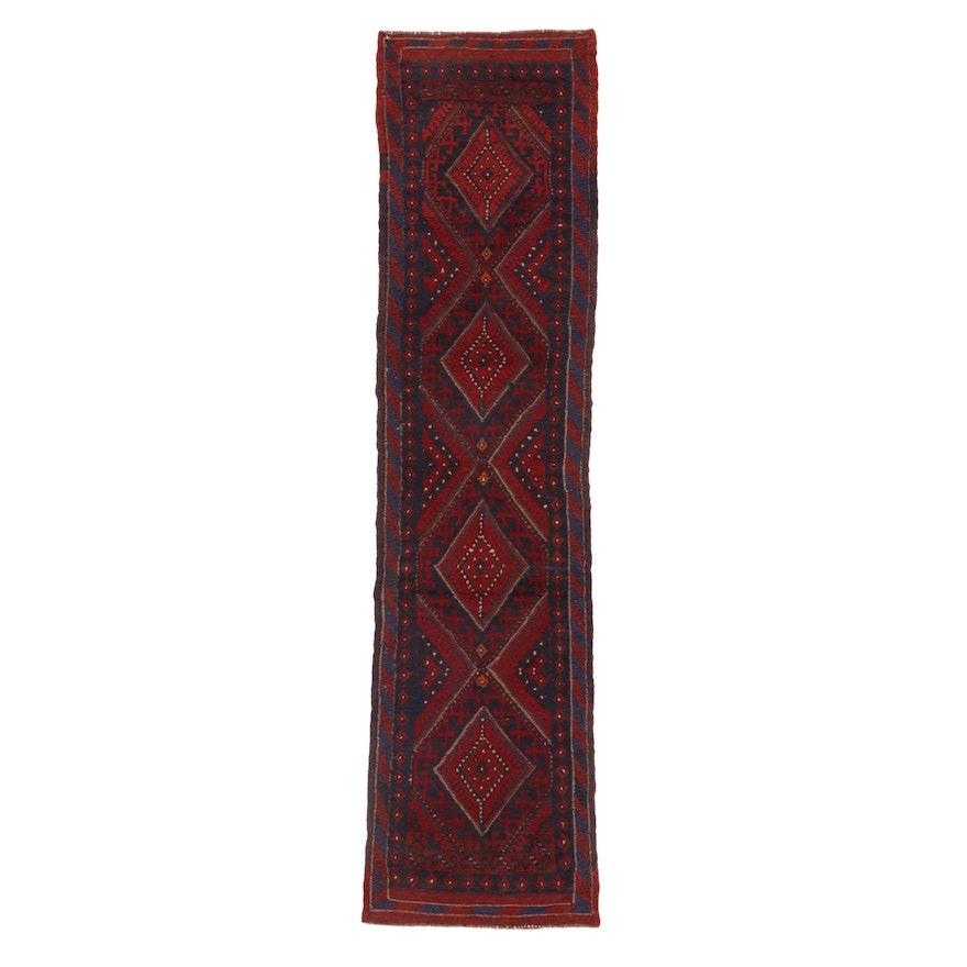 2'2 x 8'2 Handwoven Afghan Turkmen Mixed Technique Carpet Runner, 2000s