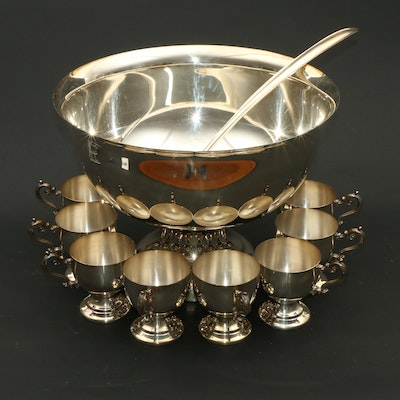 Silver Plate Punch Bowl Set, Mid to Late 20th Century