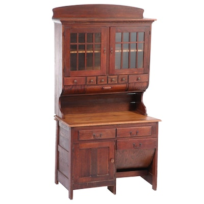Oak Two-Piece Possum Belly Baker's Cabinet, Early 20th Century