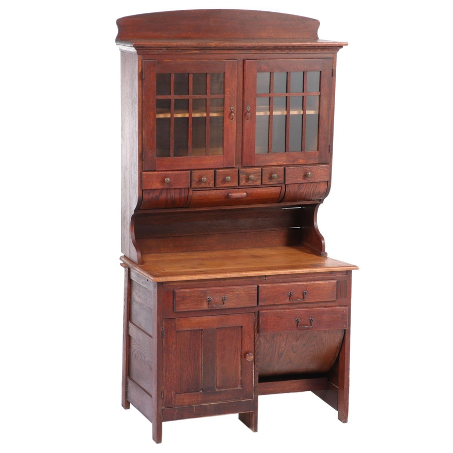 Oak Two-Piece Possum Belly Baker's Cabinet, Early 20th Century