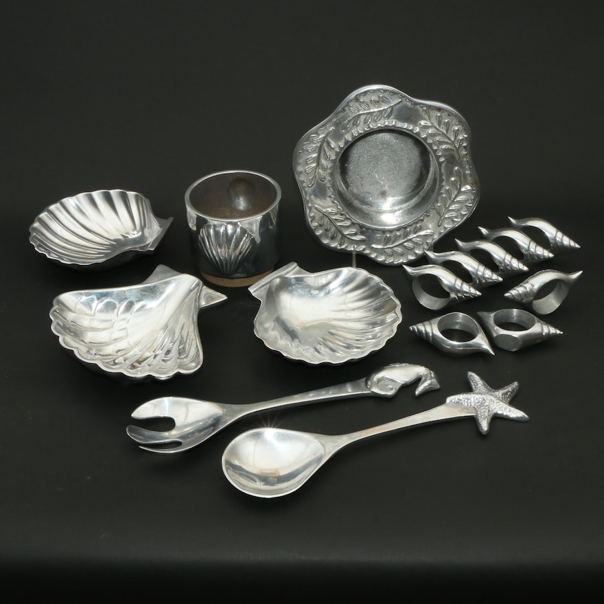 Mariposa Starfish and Seahorse Salad Servers and Other Tableware, Late 20th C.