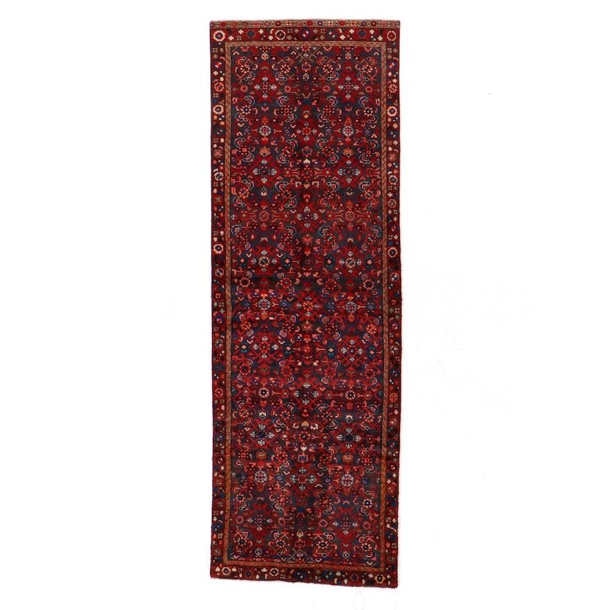 3'7 x 10'8 Hand-Knotted Persian Hamadan Herati Long Rug
