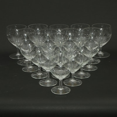 Mid-Century Style Modern Clear Glass Etched Stemware, Mid to Late 20th Century