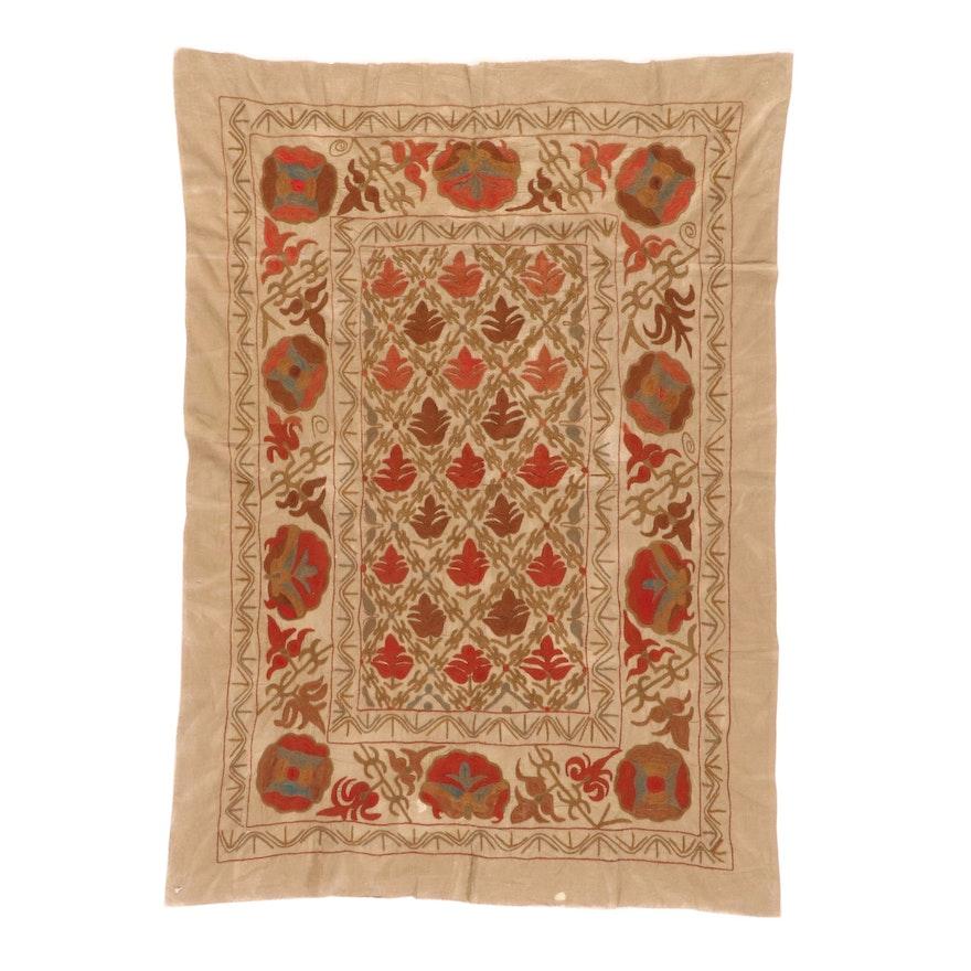 4'4 x 6'1 Handcrafted Uzbek Suzani Embroidered Rug, 1940s
