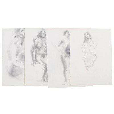 John Tuska Figural Nude Graphite Drawings, Mid to Late 20th Century