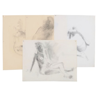 John Tuska Figural Graphite and Charcoal Drawings, Mid to Late 20th Century