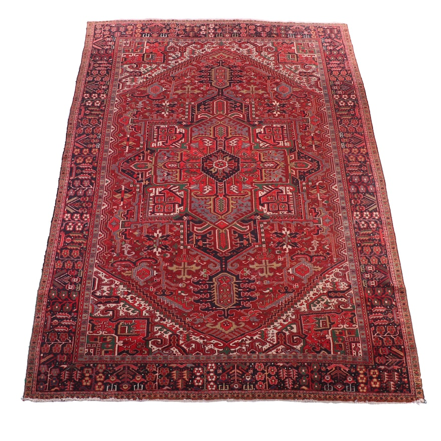 9'8 x 13'6 Hand-Knotted Persian Heriz Room Sized Rug