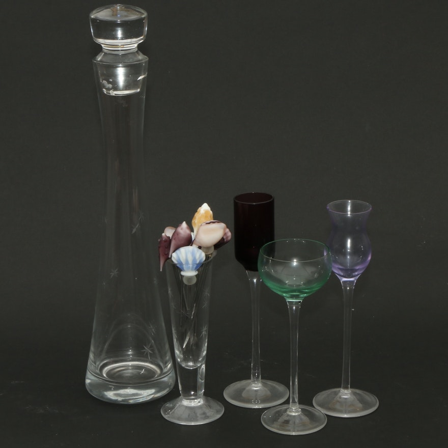 Etched Starburst Decanter and Long Stem Aperitifs, Mid to Late 20th Century