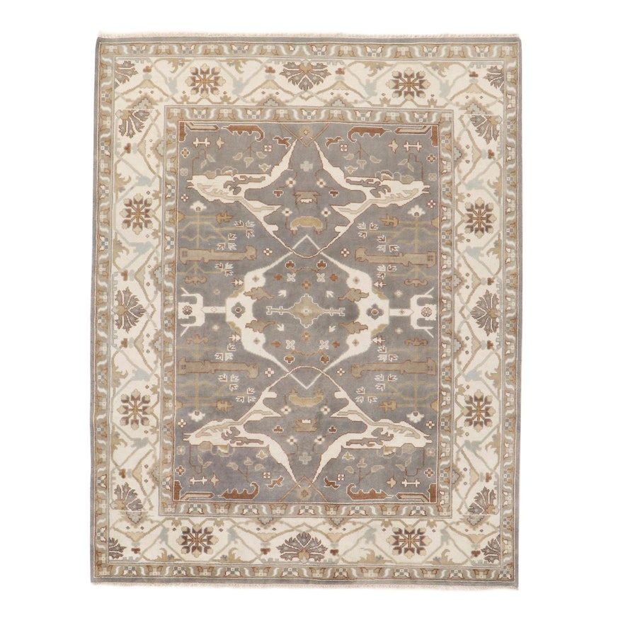 8' x 10'4 Hand-Knotted Indo-Turkish Oushak Rug, 2010s