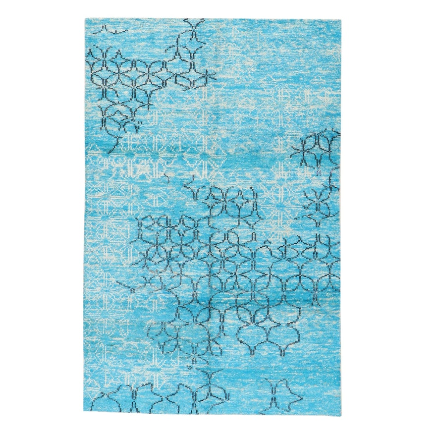 5'2 x 7'11 Hand-Knotted Indian Bamboo Silk Rug, 2010s