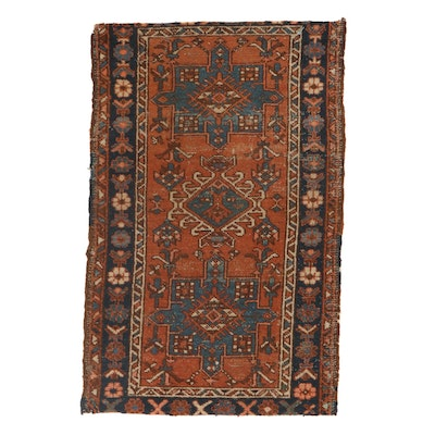 2'6 x 3'10 Hand-Knotted Persian Karaja Rug, 1920s