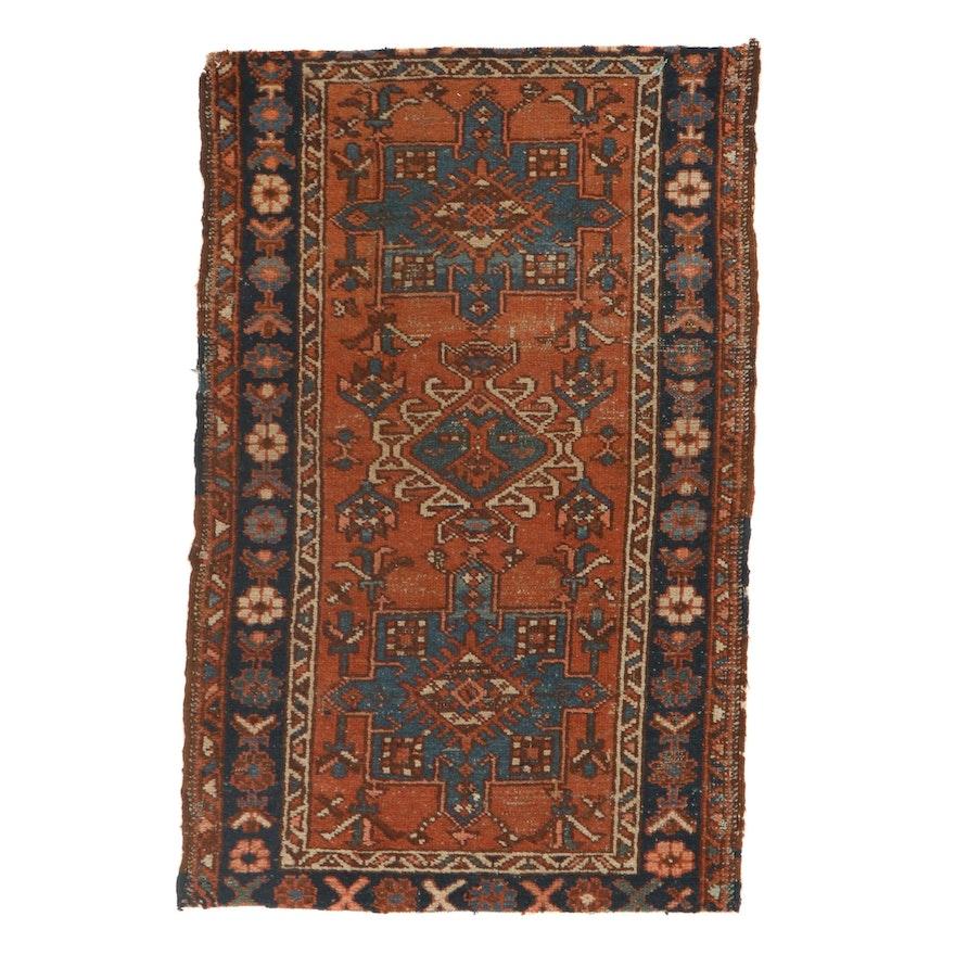 2'6 x 3'10 Hand-Knotted Persian Karaja Rug, 1920s
