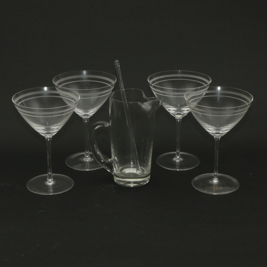 Mid Century Modern Frosted Martini Glass with Cocktail Pitcher, Late 20th C.