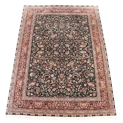 8'8 x 12'7 Hand-Knotted Chinese Floral Wool and Silk Room Sized Rug
