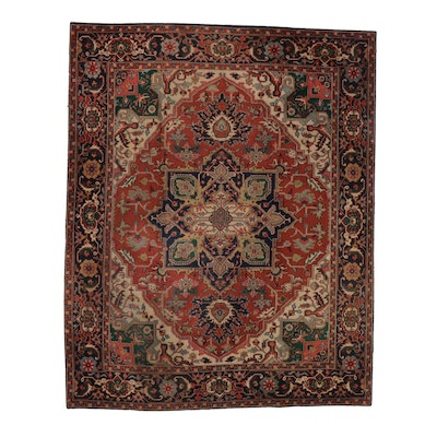 8' x 10' Hand-Knotted Indo-Persian Heriz Serapi Rug, 2000s