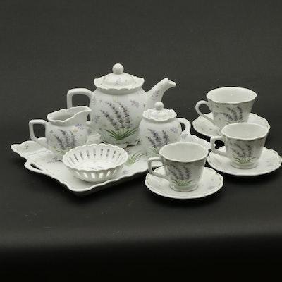 "Andrea by Sadek ""Lavender"" Demitasse Porcelain Tea Set"