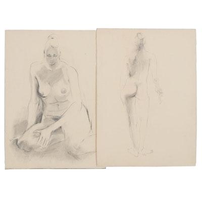 John Tuska Figural Graphite Drawings, 1964