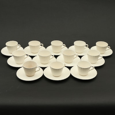 """Copeland Spode """"Chelsea Wicker"""" Demitasse Cups and Saucers, Early 20th Century"""